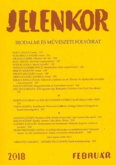 Ágoston Zoltán  (Szerk.) - Jelenkor - Irodalmi és művészeti folyóirat - 2018. február