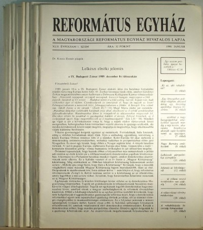 Dusicza Ferenc  (Szerk.) - Református Egyház XLII. évfolyam 1990 / 1-12.